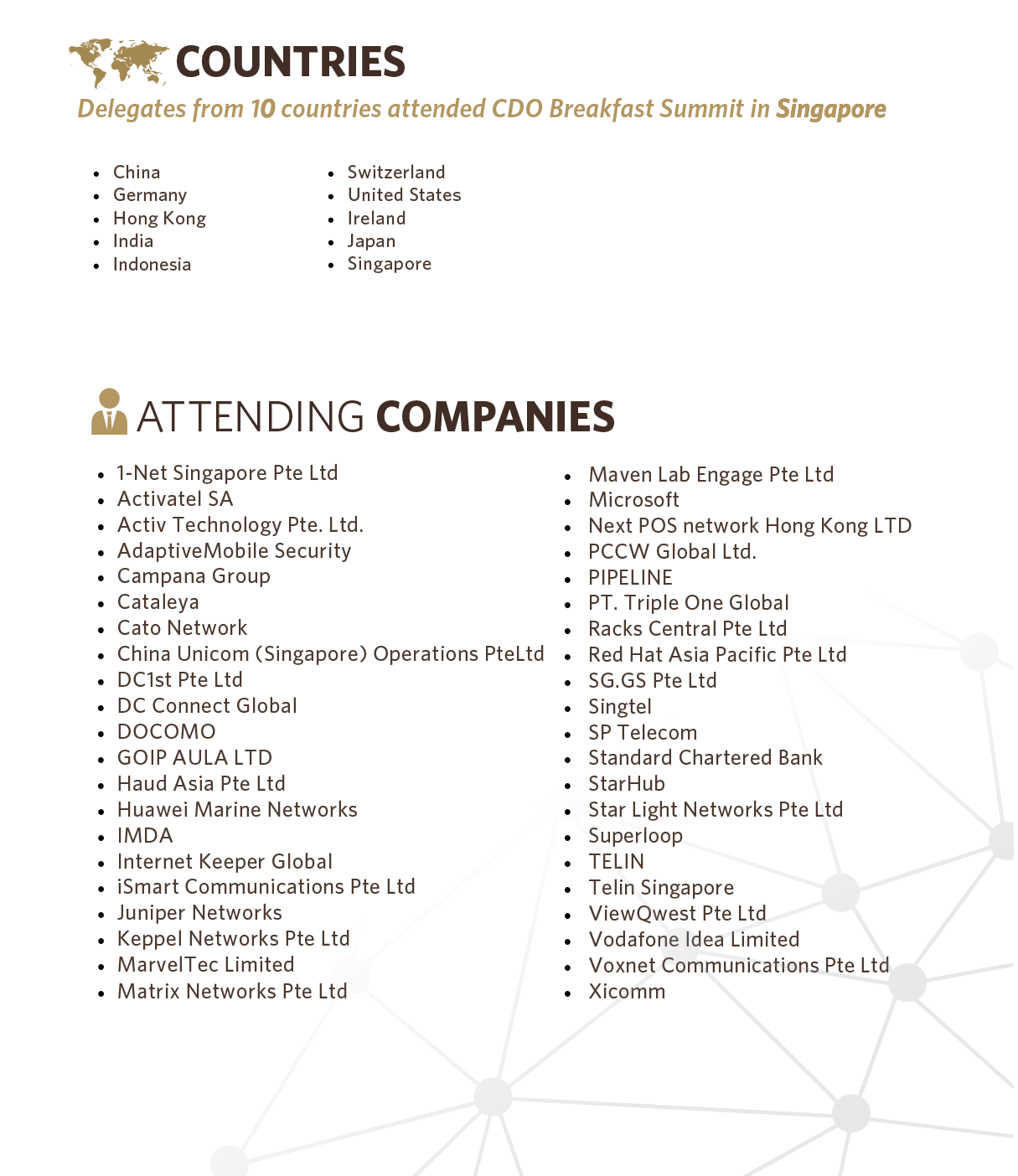 CDO BREAKFAST SUMMIT 2019 - Statistics